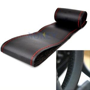 Image 3 - Ультратонкие чехлы из волокнистой кожи для ручного шитья, для рулевого колеса, для Ford Focus 2 3 Kia Benz Smart Nissan