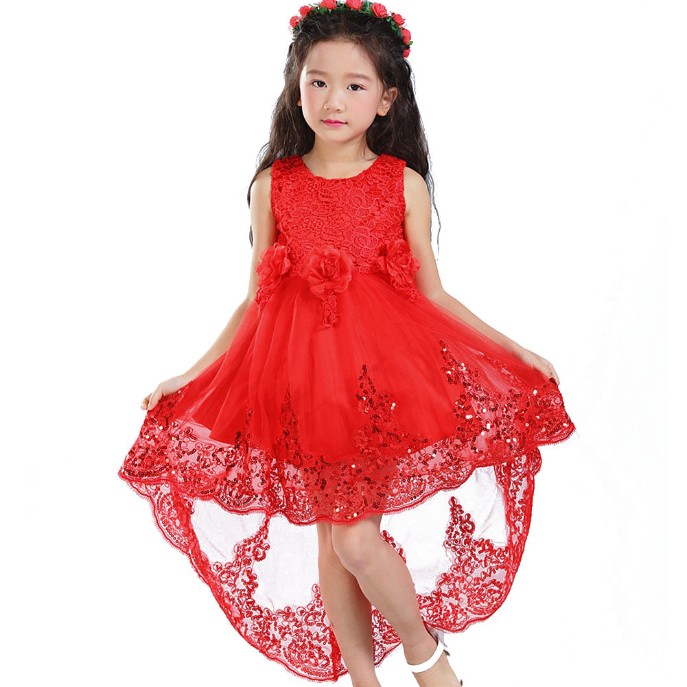 6 colors Girls Prom Lace Dresses Wedding Children Clothing Girl ...
