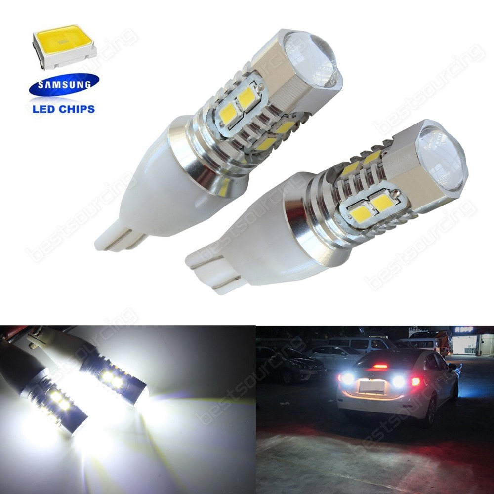 2x T15 W16W 921 Bulb SAMSUNG 10W LED Sidelight Reverse Parking <font><b>Lights</b></font> White 12V (CA321)