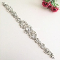 Rhinestone decorations beaded rhinestone applique for wedding dresses diamond embroidery lace trim Crystal sewing