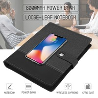 Power Bank Notebook Multi Functional Notebook with 8000 mAh Power Bank Qi Wireless Charging Note Book Binder Spiral Diary Book