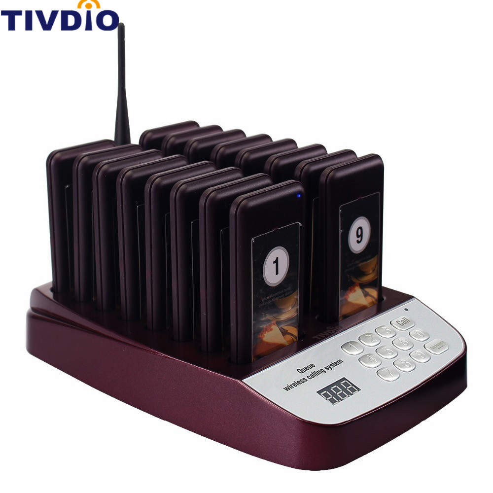 TIVDIO Wireless Pager Restaurant Equipments Coaster Waiter Paging Queuing System with Rechargeable Battery 433.92MHz F9403D 2 receivers 60 buzzers wireless restaurant buzzer caller table call calling button waiter pager system