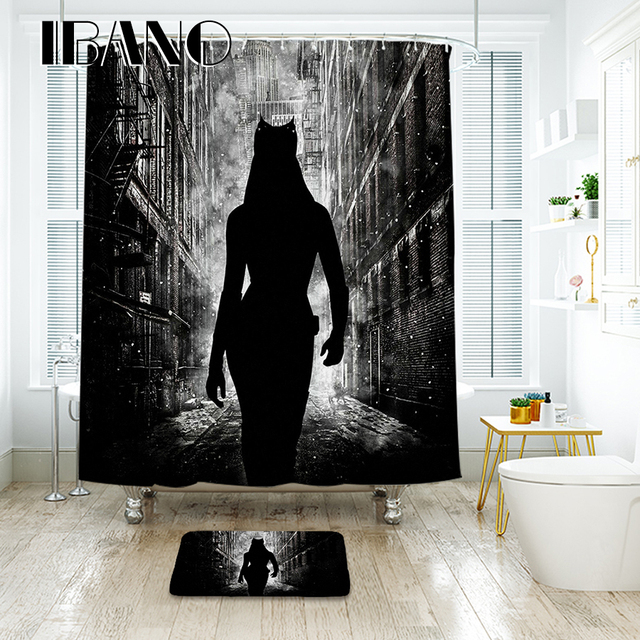 IBANO Batman Shower Curtain Waterproof Polyester Fabric Bath Curtain ...