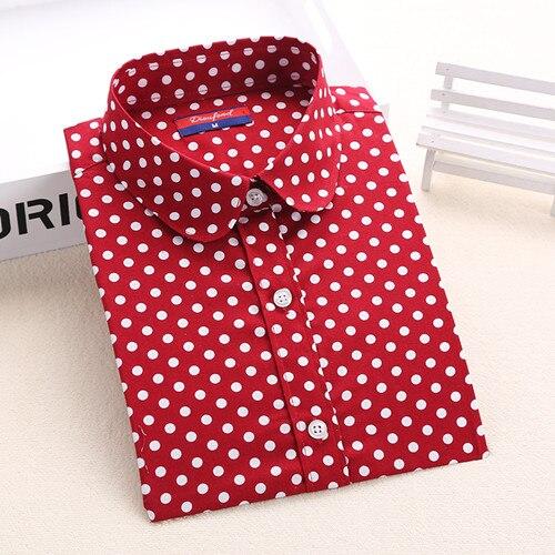 Dioufond, Хлопковая женская рубашка, блуза с длинным рукавом, красный горошек, Blusas Femininas, 5XL размера плюс, отложной воротник, женские модные топы - Цвет: Mreddot