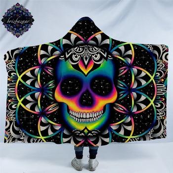 Caos por Brizbazaar Manta con capucha para adultos gótico calavera de color Sherpa polar manta de tiro de microfibra Galaxy ropa de cama