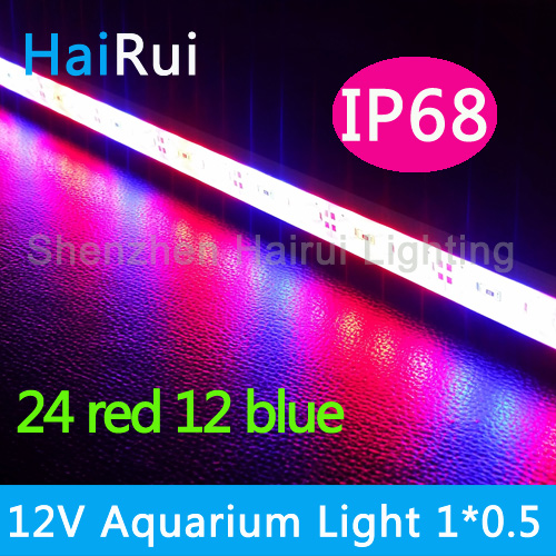 1pcs DC12V 0.5m 5630 Led Bar Rigid Strip IP68 Waterproof Grow Light Red Blue 5:1,4:2 For Aquarium Greenhouse Hydroponic Plant