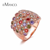EManco 8 Color Classic Vintage Exquisite Round Wide Rings For Women Purple Crystal Rhinestone Silver Plated