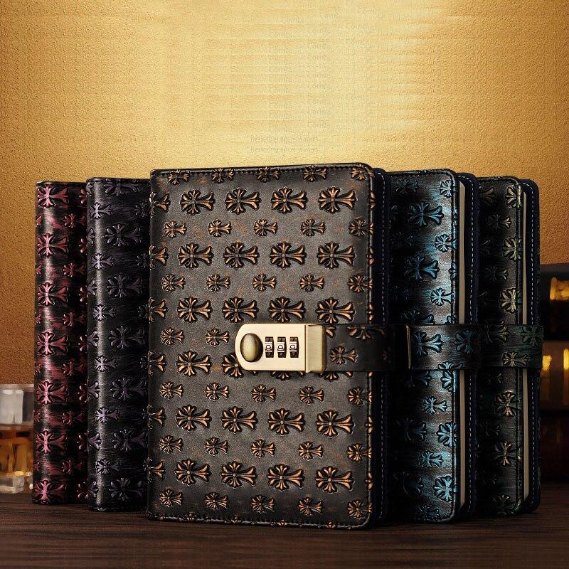 0370a0363 NOVA de couro bloco de Notas Do Vintage caderno Diário com Bloqueio de  senha código de negócios Produtos de papelaria escritório escola  suprimentos presente