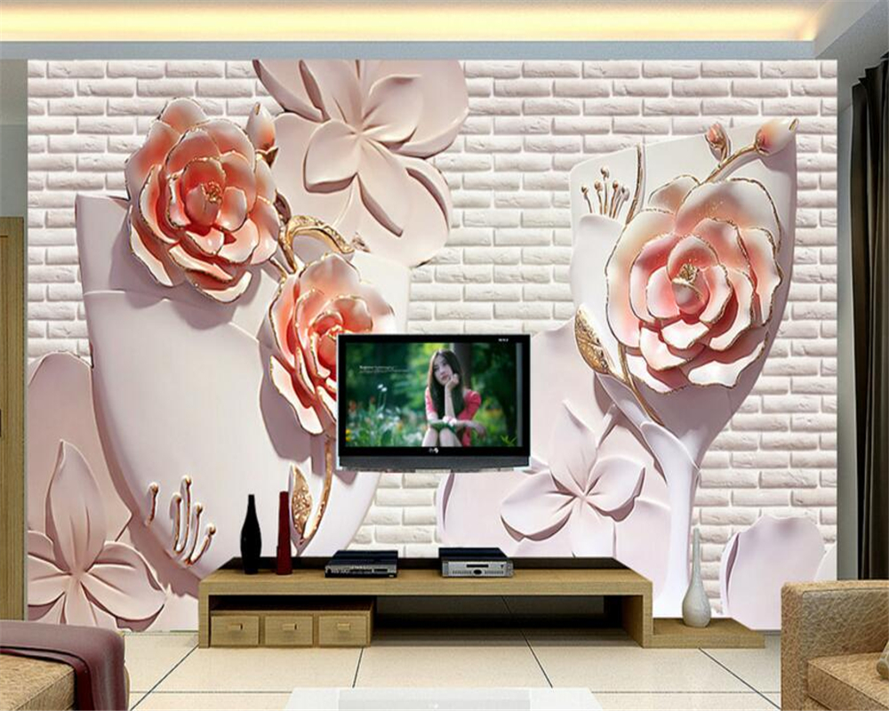Beibehang 3D Wallpaper 3D Flower Relief TV Wall Decorative Painting Living Room Bedroom Mural photo wallpaper for walls 3 d free shipping 3d wall stickers window simulation room bedroom study modern decorative ch011 wall painting wallpaper mural page 4 page 5 page 5