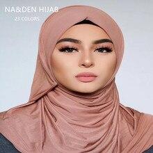 Mềm Mại Cơ Bản Cotton Jersey 28 Màu Thời Trang Đồng Bằng Chắc Chắn Viscose Khăn Choàng Hồi Giáo Echarpe Nữ Khăn Hijabs Dây 10 Chiếc Nhanh con Tàu