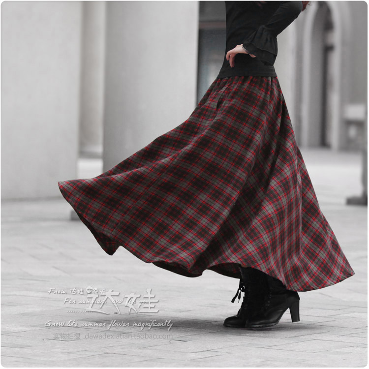 29ece685e 2015 Spring Autumn Europe fashion elastic waist wool casual maxi red plaid  skirt with pockets floor length 4-in Skirts from Women's Clothing &  Accessories ...