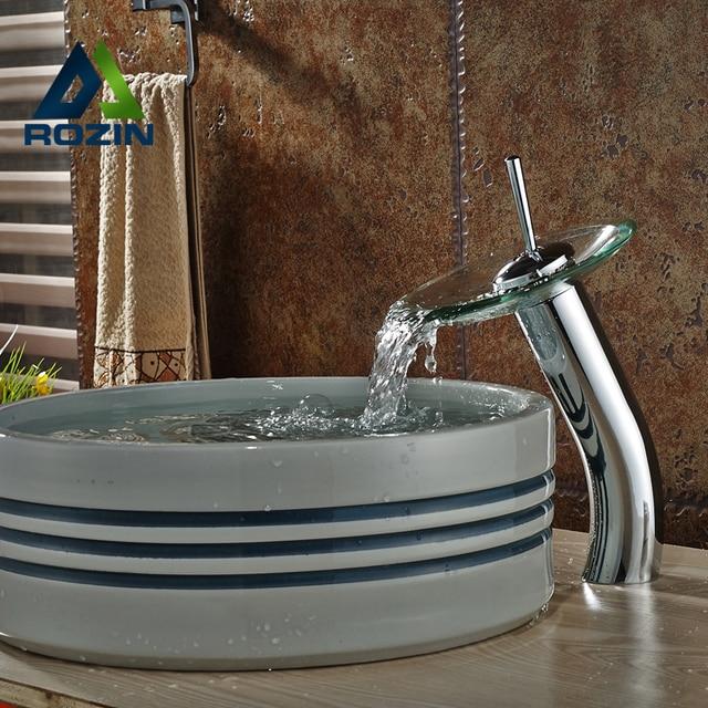 Luxury Glass Waterfall Bathroom Vessel Sink Faucet Deck Mount One ...