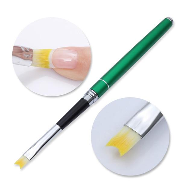 French Tip Nail Brush Silver Black Handle Half Moon Shape Acrylic Painting Drawing Pen  Nail Art Tool 5