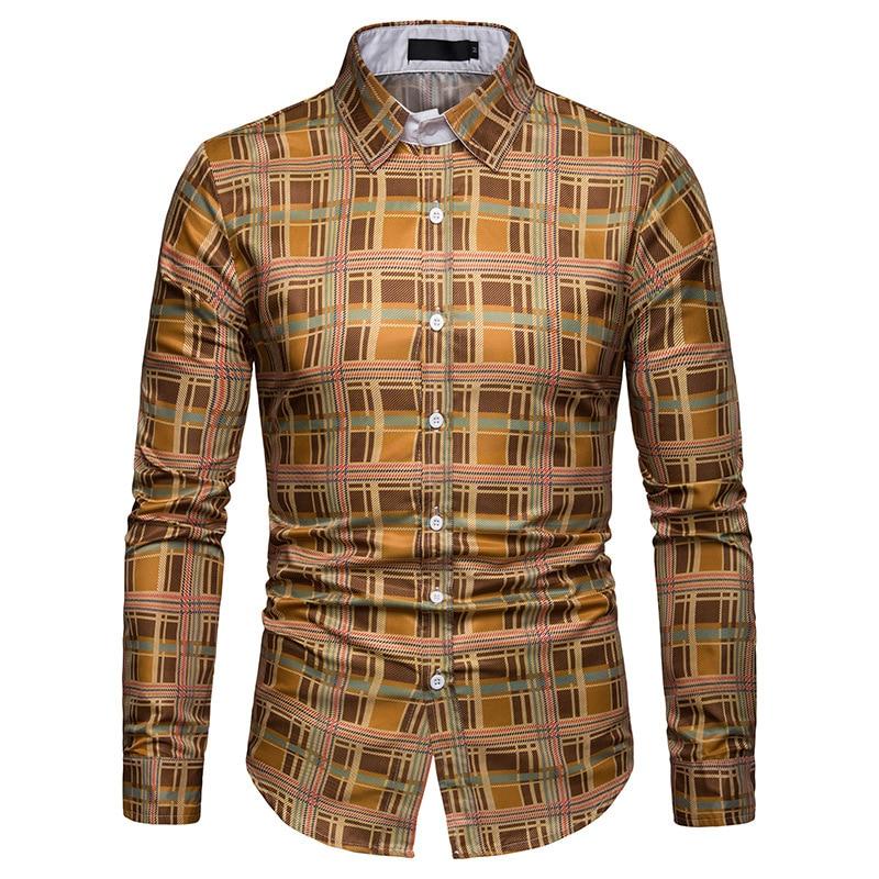 2019 Neue 100% Polyester Männer Shirt Mode Männer Dünne Plaid Lange Ärmeln Hemd Hawaiian Männlichen Slim Fit Kleid Shirts Chemise Homme GroßE Sorten