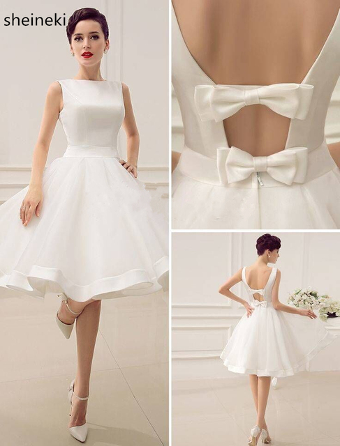 2018 Cheap white mini Short Bridesmaid Dresses A Line V Neck Knee ...