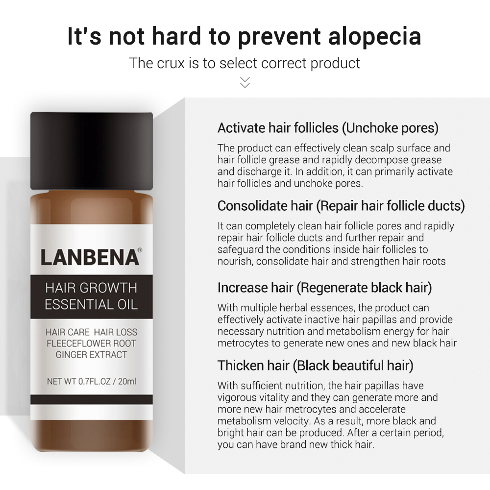 LANBENA Hair Growth Essential Oil Liquid Fast Powerful Hair Growth Essence Treatment Preventing Hair Loss Products for Men 20ml 5