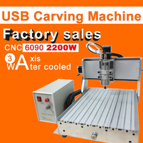 Factory sale CNC 6090 3axis 2200w engraving machine usb port water cooling carving machine ball screw cutting machine mini 6090 desktop 3 axis cnc carving machine