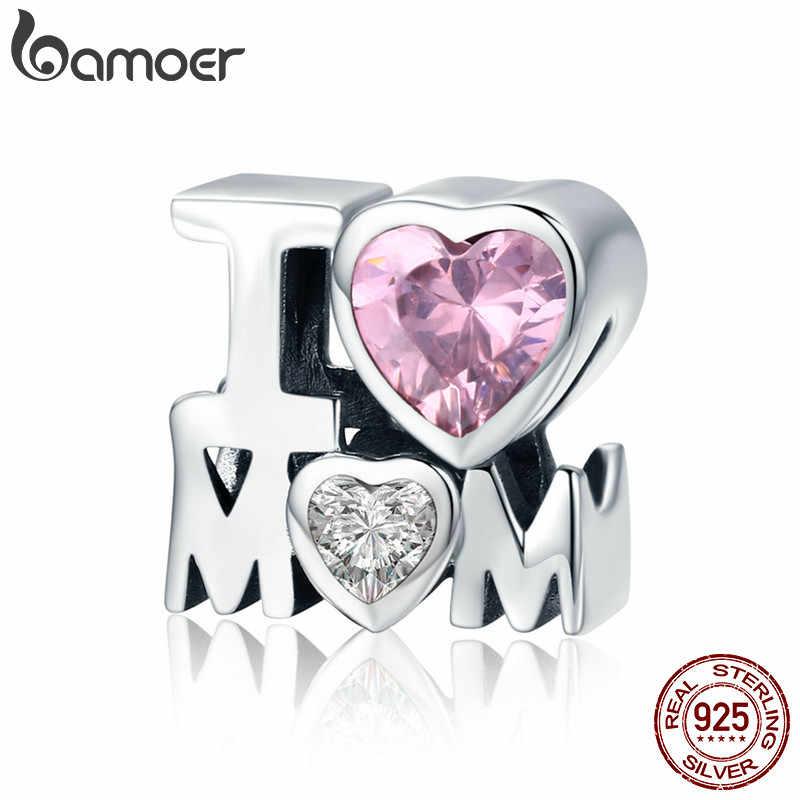 BAMOER подлинное серебро 925 пробы I Love подарок для мамы Шарм подходит для женщин браслет и ожерелье DIY Ювелирные изделия SCC579