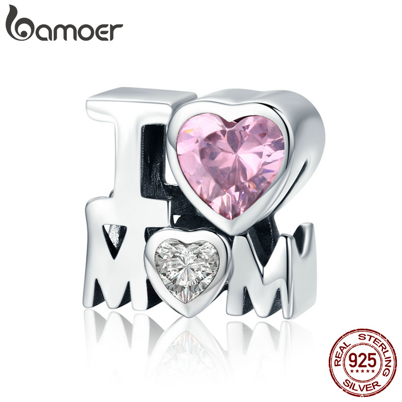 BAMOER Authentic 925 Sterling Silver I Love Mom Gift For Mother Charm fit Women Charm Bracelet & Necklace DIY Jewelry SCC579 купить в Москве 2019
