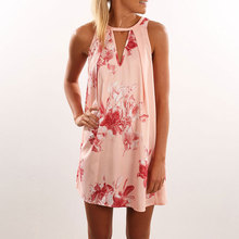 Women Female Fashion Sleeveless Printed V Neck Straight Loose Mini Sundress Dresses Light Pink S/M/L/XL