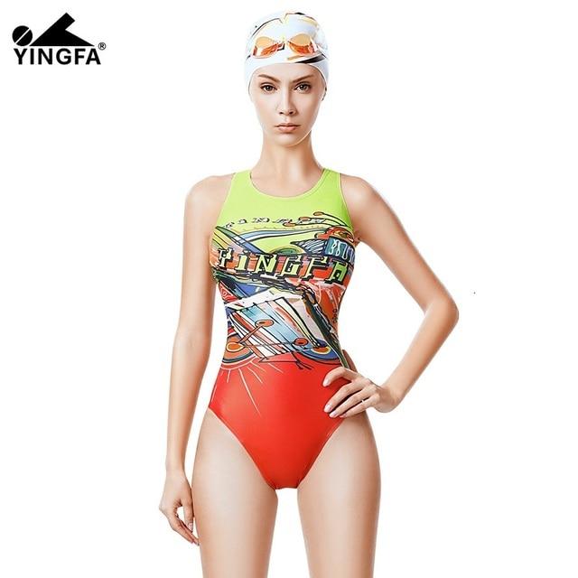 596e2524e59a Yingfa 2019 niñas traje de baño trajes la competencia natación competitiva  entrenamiento nadar niño profesional