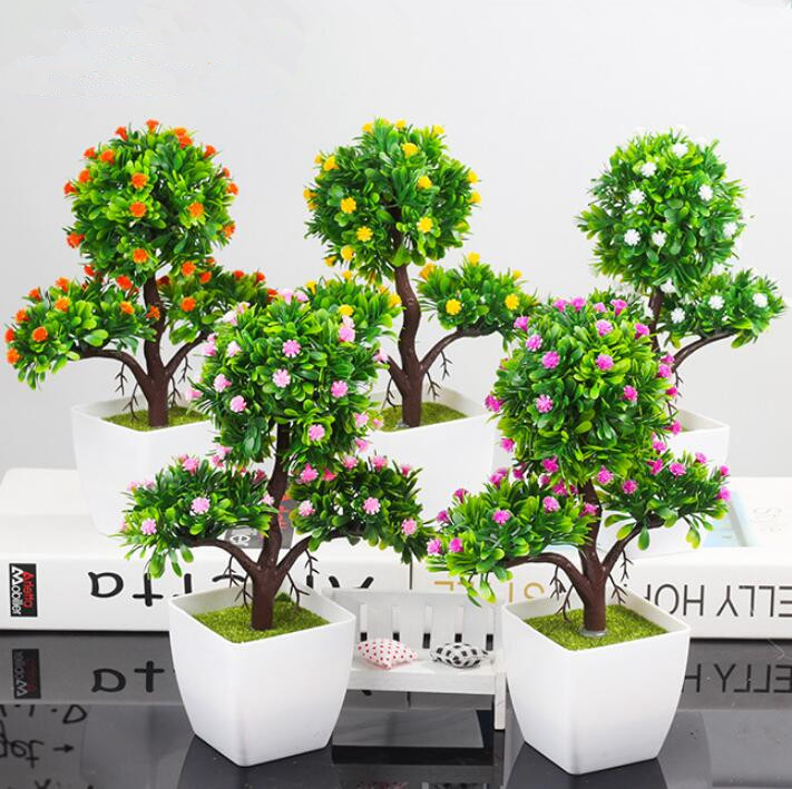 Artificial Plants Bonsai Plastic Simulation Tree Desktop Pot Decorative Fake Flowers Leaves Garden Plant Home Hotel Office Decor