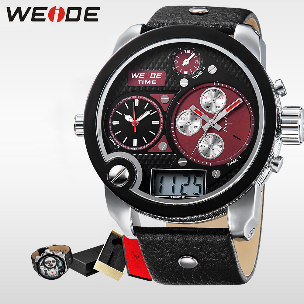 WEIDE Brand Big Dial Army Military Japan Quartz Watch Movement Analog Digital Display  Water Resistant Leather Strap alarm clock weide wh 3401 double movt analog digital military quartz watch water resistant for sports