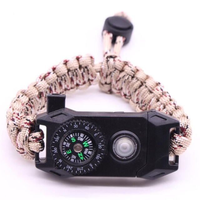Купить военный браслет для выживания мужской многофункциональный светодиодный
