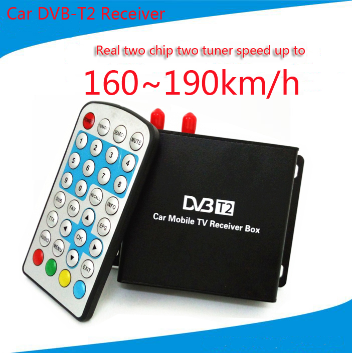 160-190km/h DVB T2 Car TV Tuner MPEG4 SD/HD 1080P DVB-T2 Digital TV Receiver for Europe Southeast Asia Russia Colombia hot digital car tv tuner dvb t2 car tv receiver hdmi 1080p cvbs dvb t2 support h 264 mpeg4 hd tv receiver for car free shipping