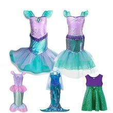 цены на MUABABY Girl Little Mermaid Fancy Dress Up Kids Photography Tulle Ariel Cosplay Princess Costume Girls Christmas Party Long Gown  в интернет-магазинах