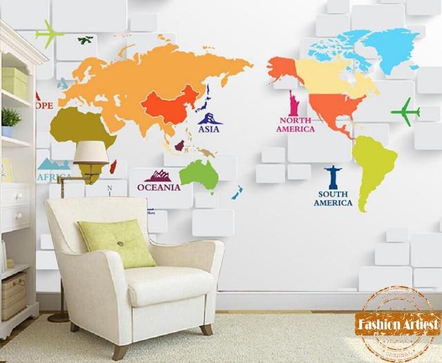 Custom 3d continents wallpaper mural color world map on white cube custom 3d continents wallpaper mural color world map on white cube tv sofa bedroom living room sciox Gallery