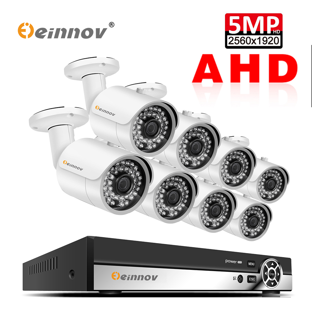 Einnov 8CH 5MP Monitoramento de Vídeo Sistema de Vigilância Ao Ar Livre Kit Câmera de Segurança Em Casa DVR AHD Câmera de CCTV Conjunto P2P APP XMEye HD