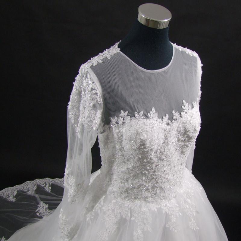 Wedding Dress Vintage Bohemian Lace Long Sleeve Ball Gown Wedding Dresses 2017 Luxury Pearls White Bridal Dress Vestido De Noiva 4