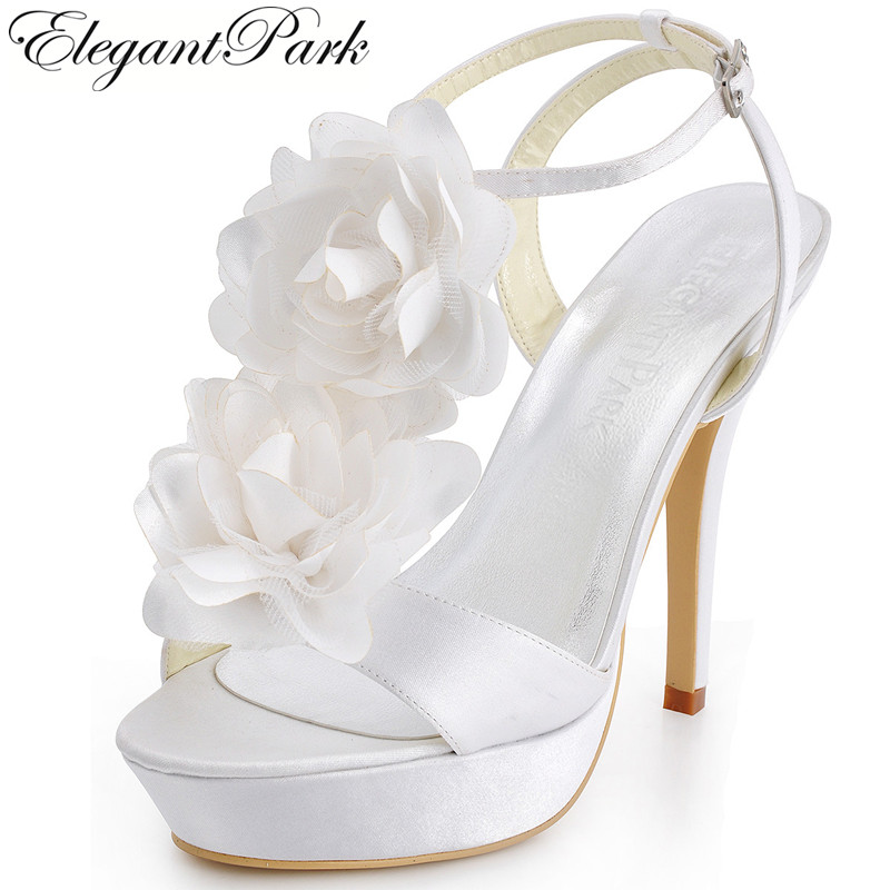 Sweet Sexy Summer Sandals Women EP2068-PF White Open Toe High Heel Flower Ankle Strap Shoes Satin Lady Woman Wedding Bridal Shoe free shipping ep2107 ivory women s open toe stiletto high heel satin flowers pearls bridal wedding sandals
