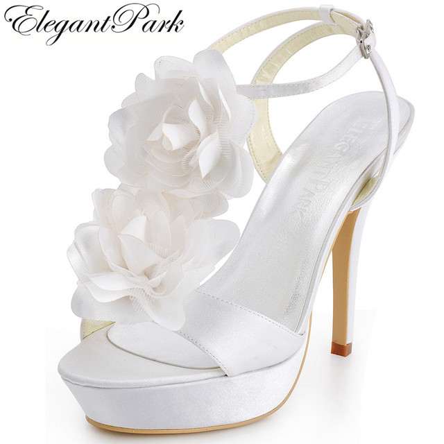 Sweet Sexy Summer Sandals Women EP2068-PF White Open Toe High Heel Flower  Ankle Strap Shoes Satin Lady Woman Wedding Bridal Shoe ff38f9f556d9