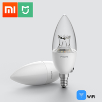 Xiaomi Mijia-bombilla LED inteligente para el hogar, dispositivo de automatización con WiFi E14, lámpara PHILIPS Zhirui regulable, control por aplicación