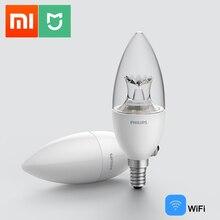 Xiaomi Mijia inteligentna żarówka LED świeca WiFi E14 ściemniania PHILIPS Zhirui lampa APP sterowania Mi inteligentne urządzenie automatyki domowej