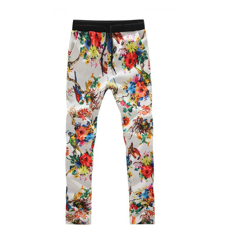 Floral White Pant Hiphop Mens Camo Joggers Pants Casual Slim Leg Simple Mens Patterned Joggers