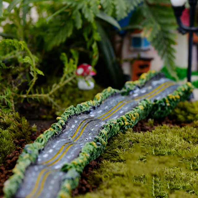 Micro Landscape Resin Craft Highway Small Road Miniature Garden Ornaments  Miniature Dollhouse Fairy Garden Large Road