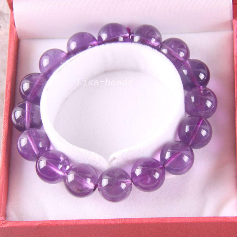 Free Shipping Fine Jewelry Stretch Purple 12MM Round Beads 100% Natural AA Purple Crystal Bracelet 8 with Box 1Pcs RJ017 free shipping fine jewelry stretch red round beads 9mm aa 100