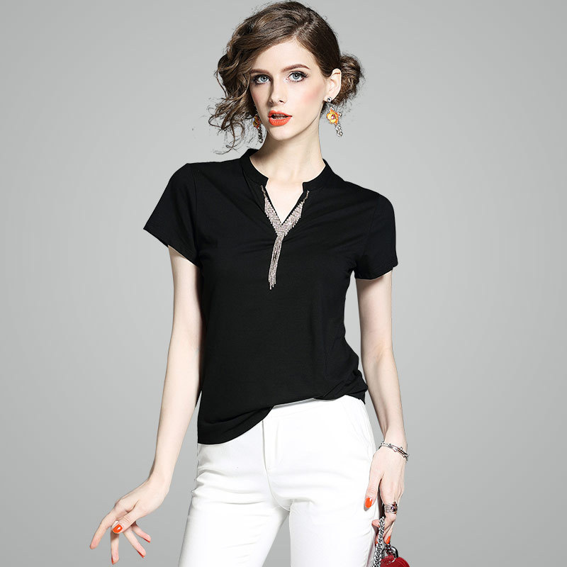 2018 New Arrival Women Summer Clother Women Wear Short Sleeved Shirt Collar Slim All-match Temperament T-shirt Regular T-shirts