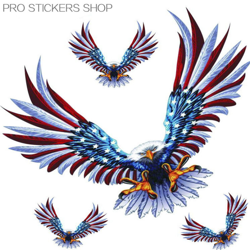 Reflective Tape American Eagle Sticker Car Stickers 4 PCS in a Set Golf 7 Car Styling and Decals Motorcycle Stickers