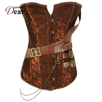 Comeondear Steampunk Womens Clothing Gorset Czerwony Overbust Corset AB2230 100% Polyester Plus Size Bustier Sexy Corselet