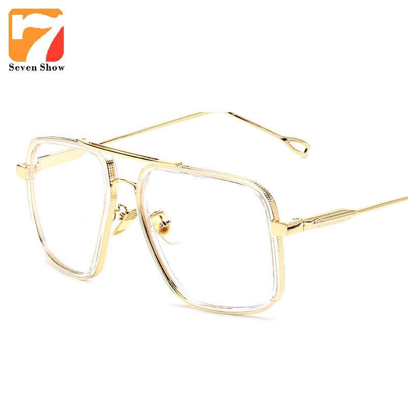 2017 brand vintage optical prescription clear lens glasses frame oversized gold frames eyeglasses for women men