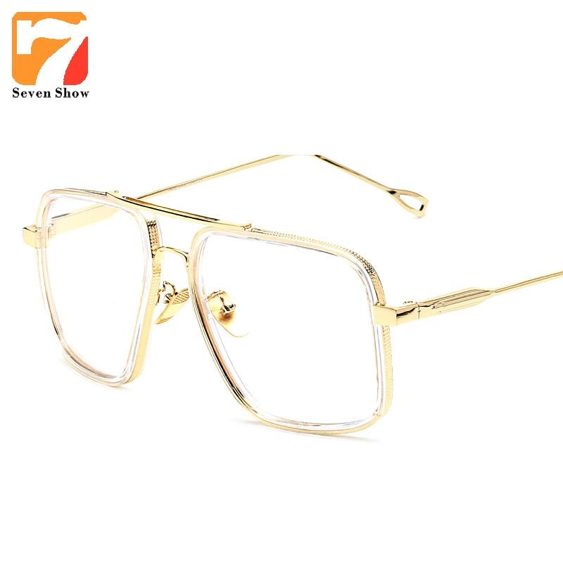 2017 brand vintage optical prescription clear lens glasses frame oversized gold frames eyeglasses for women men