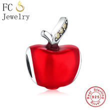 FC Jewelry Fit Original Pandora Charm Bracelet 925 Sterling Silver Red Enamel Snow White Fruit Apple Beads Making Berloque New(China)