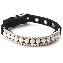 Practical Boutique store Rhinestone Pearl Chain Dog Collar Princess Collars For Dogs Cats Pet Leads Accessories(black)L
