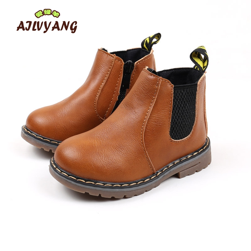 2018 Autumn Winter Children Ankle Boots Girls Leather Thickening Warm Martin Boots Kids Boys Fashion Comfortable Snow Boots kids freezing cold winter snow boots casual boys martin boots girls warm sneakers shoes fashion real leather children snow boots