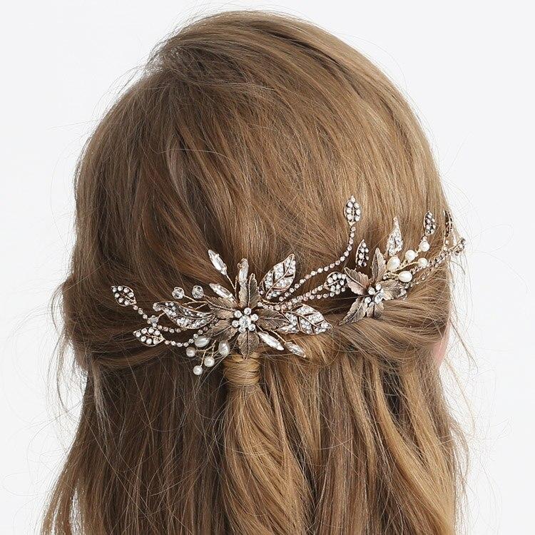 US $15.66 25% OFF|Antique Gold Women Hair Pin Leaf Rhinestone Chain Bridal Bobby Hair Pin Pearl Hair Forks Wedding Bridal Fascinator Pins|Hair