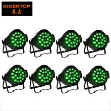 Freeshipping 8PCS 18*18W RGBWA UV 6in1 Led Zoom Par Stage Light Aluminum Strong Handle Sound/Auto Strobe Effect Linear Motor